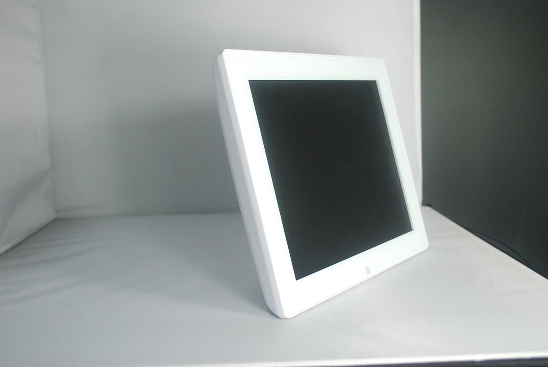 White Glass Personalised Wedding Electronic Photo Frames 12 Inch With Two Speaker